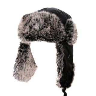 Wholesale black nylon trapper with grey fur lining