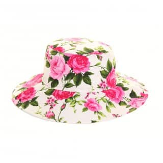 Bulk reversible pink floral hat patterning with wide brim