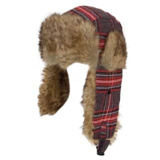 Wholesale red womens checked trapper hat with fur trim