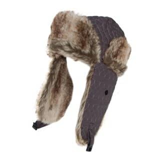 Wholesale trapper with heart embroidery with faux fur trim