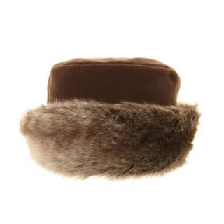 Wholesale womens brown fleece hat with fur brim