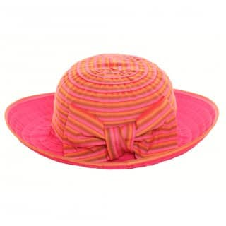 Wholesale summer hat with stripes, bows and shapeable brim