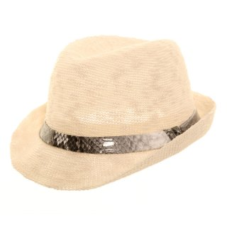 Wholesale ivory lightweight trilby with specific animal print band