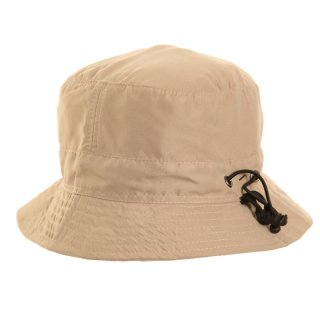 Bulk mens bush hat developed from beige microfibre materials with adjuster and inside pocket