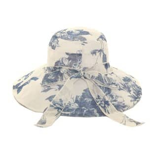 Wholesale lightweight floral printed sun hat in blue