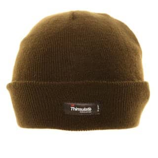 A368/O - OLIVE THINSULATE KNITTED SKI HAT