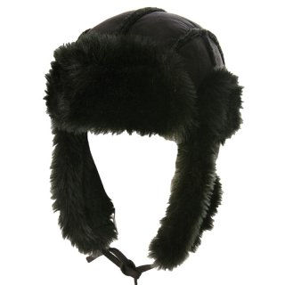 Wholesale suede effect fur trapper hat in black