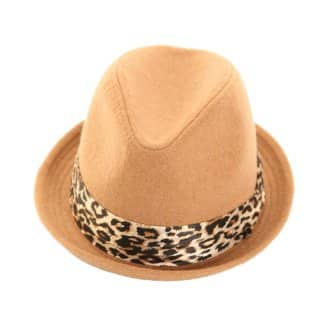Wholesale beige ladies felt trilby with satin leopard band