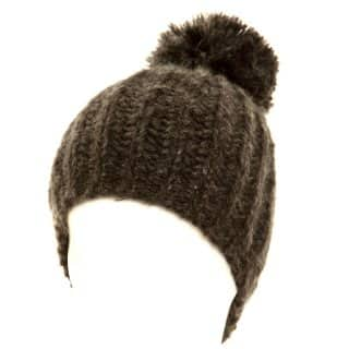 Black chunky knitted ski hat for ladies from hat supplier SSP Hats