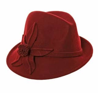 A468 - LADIES FELT ASYMMETRIC TRILBY WITH FELT FLOWER