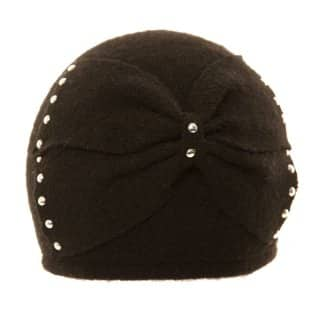 Wholesale wool felt ladies ski hat with studded bow