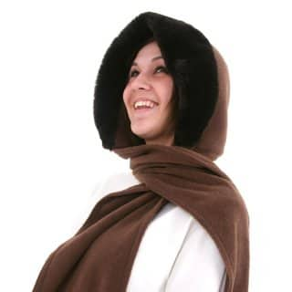Wholesale fleece hood with fake fur and wrap around scarf