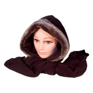 Wholesale fleece hood with fake fur trim and scarf