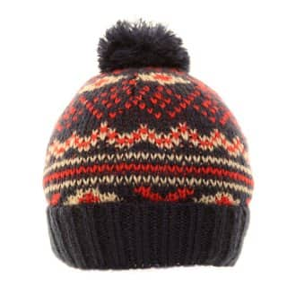 Bulk Chunky knit ski hat with white and multi coloured patterning