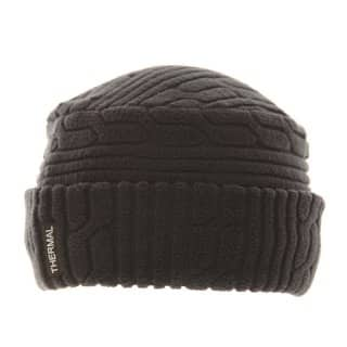 Wholesale black ladies fleece cable knit effect hat