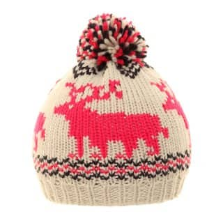 A621 - LADIES CHUNKY KNIT SKI HAT WITH DEER MOTIF