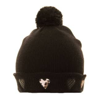 Wholesale ladies black ski hat with heart trim
