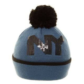 Wholesale ladies sequinned 'NY' slogan ski hat