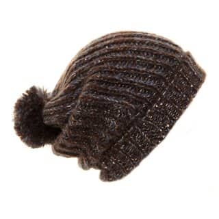 Wholesale black ladies chunky knitted baggy beanie with sequin weave