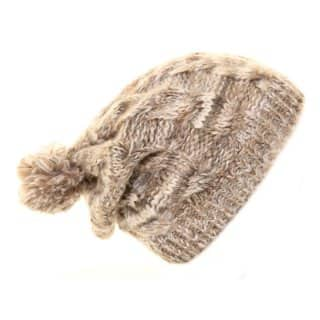 Bulk cable knitted baggy beige beanie