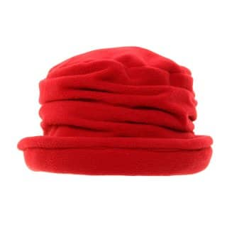 Wholesale ladies pleated fleece hat in red
