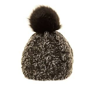 A653- LADIES 2-TONE KNITTED BOBBLE HAT WITH FAUX FUR POM-POM