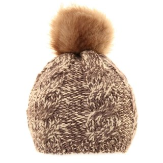 Bulk two tone knitted bobble hat with faux fur pom pom in grey