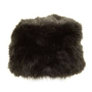A660 - LADIES QUALITY BLACK FAUX FUR PILL BOX HAT