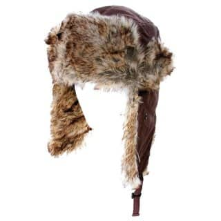 Wholesale brown nylon trapper with fake fur lining