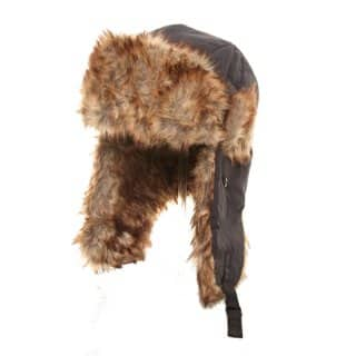 Wholesale navy nylon trapper with fake fur lining