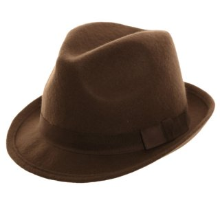Wholesale adults unisex wool felt trilby in dark brown