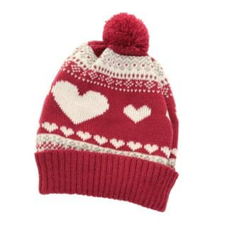 Wholesale womens hearts knitted ski hat with pom pom in red