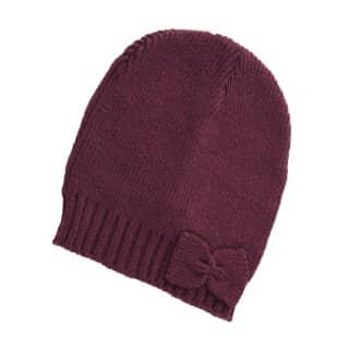 Wholesale womens purple knitted ski hat with small bow