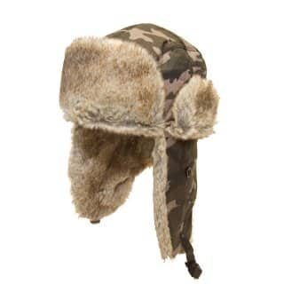 Wholesale camo trapper with fur trim
