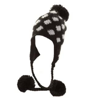 Wholesale Ladies chunky knit spotty black and white peru style hat