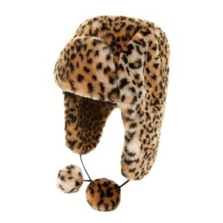 Wholesale womens animal print fur trapper with pom poms