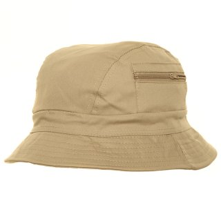 Bulk bush hat with zipped pocket in beige colours