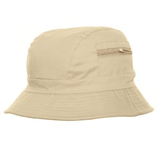 Bulk bush hat with zipped pocket in natural colours