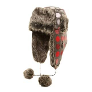 Wholesale spotty trapper hat with fur trim