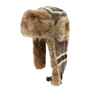2-TONE CHECK TRAPPER HAT WITH FUR TRIM
