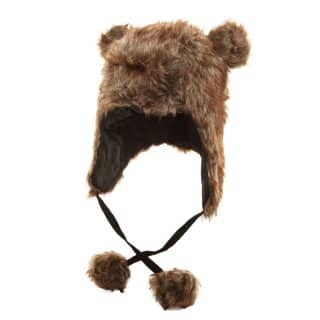 Wholesale brown faux fur peru hat with pom pom and ears