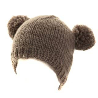 Knitted dark grey ski hat with pom pom ears available for wholesale purchase from hat supplier SSP Hats