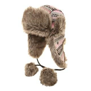 LADIES' PINK GREY KNITTED TRAPPER HAT