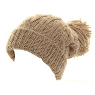 Bulk beige womens chunky knit ski hat with big pom pom