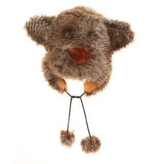 Wholesale beige adults furry bear hat with pom poms