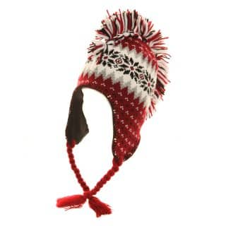 Wholesale adults unisex knitted peru hat with mohican design in red