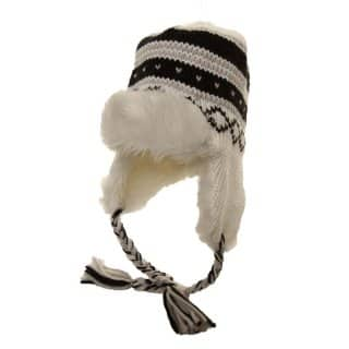 Womens knitted peru hat with faux fur trim in black and white stripes
