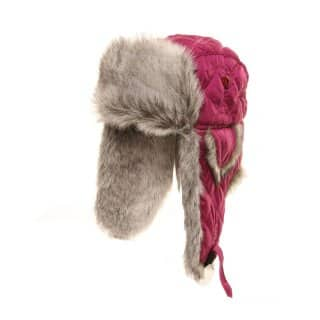 Wholesale womens red quilted trapper hat with faux fur trim