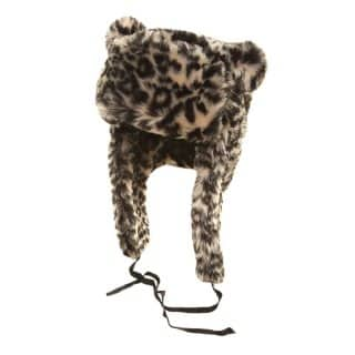 Bulk animal print trapper developed from faux fur with pom pom ears