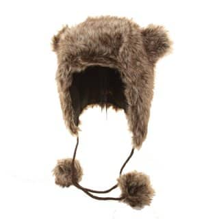 Bulk brown animal print trapper developed from faux fur with pom pom ears